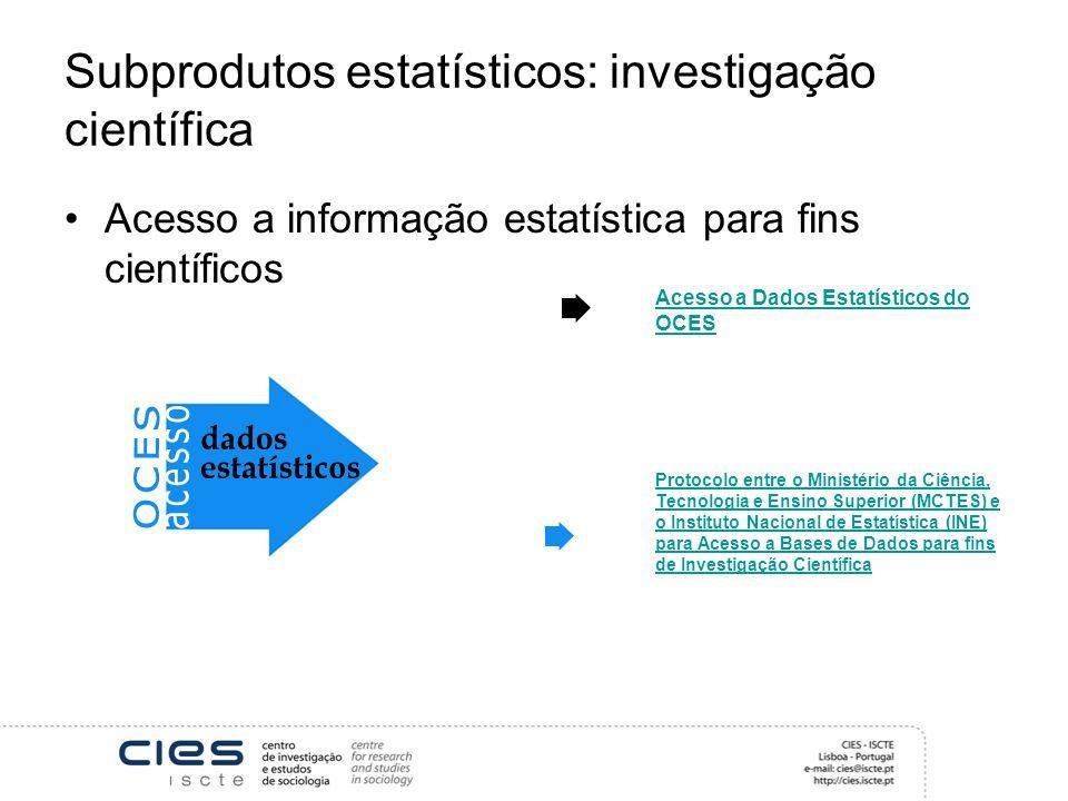 Subprodutos estatísticos: investigação científica Acesso a informação estatística para fins científicos Acesso a Dados Estatísticos do OCES Protocolo