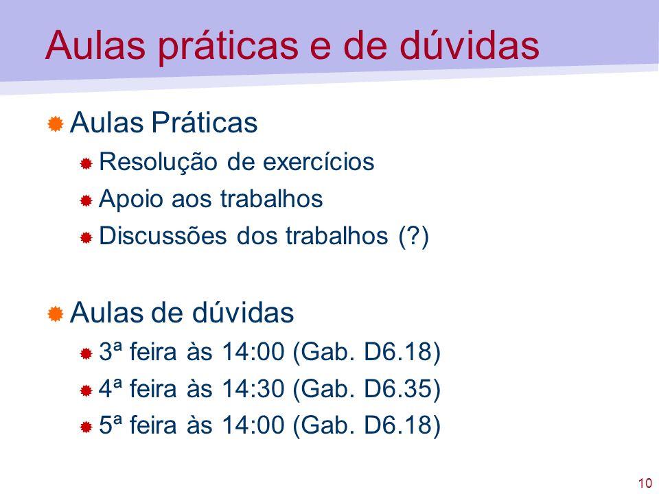 10 Aulas práticas e de dúvidas Aulas Práticas Resolução de exercícios Apoio aos trabalhos Discussões dos trabalhos (?) Aulas de dúvidas 3ª feira às 14:00 (Gab.