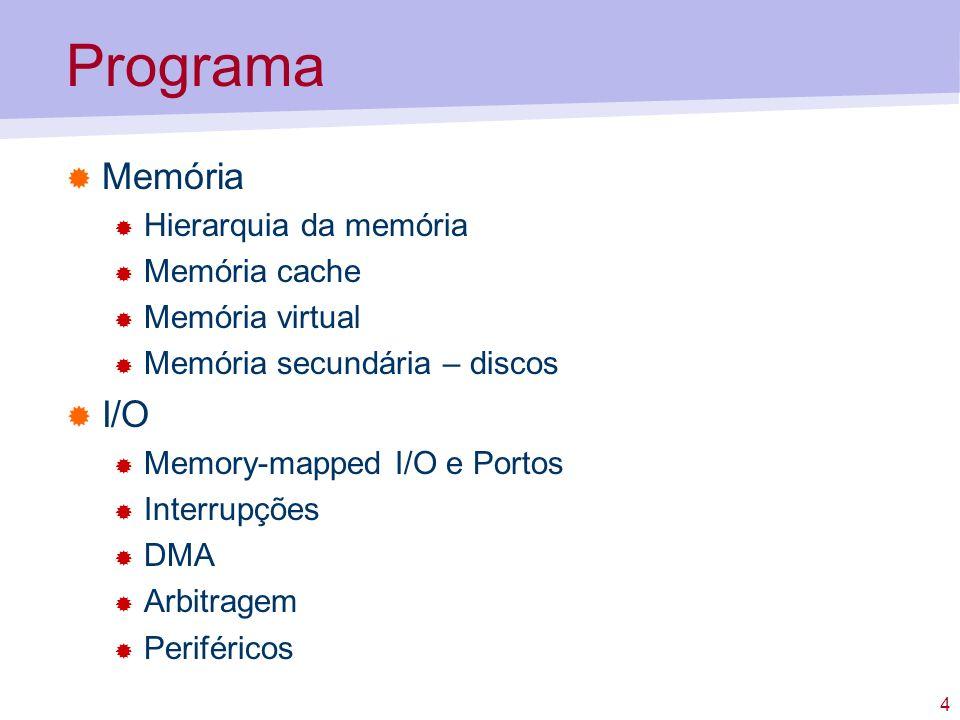 4 Programa Memória Hierarquia da memória Memória cache Memória virtual Memória secundária – discos I/O Memory-mapped I/O e Portos Interrupções DMA Arbitragem Periféricos
