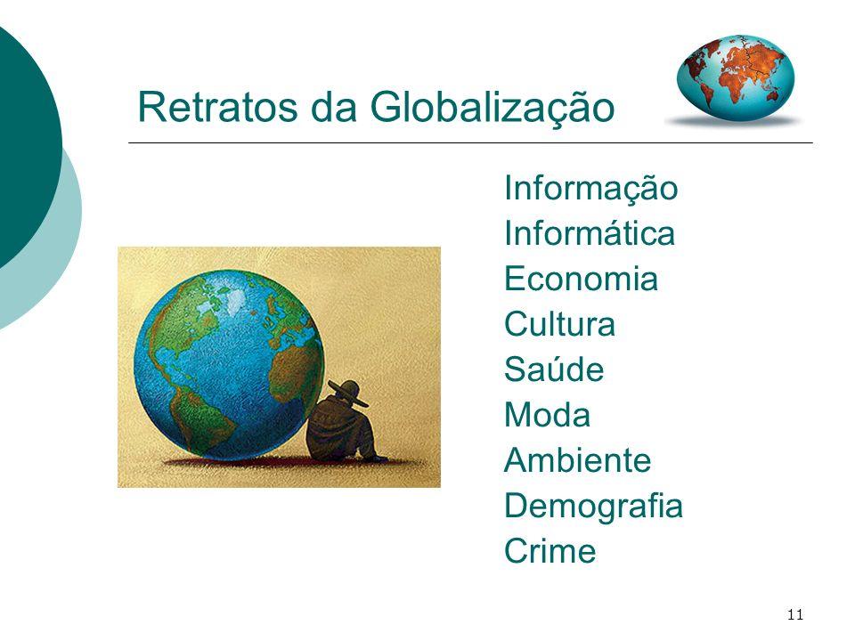 11 Retratos da Globalização Informação Informática Economia Cultura Saúde Moda Ambiente Demografia Crime