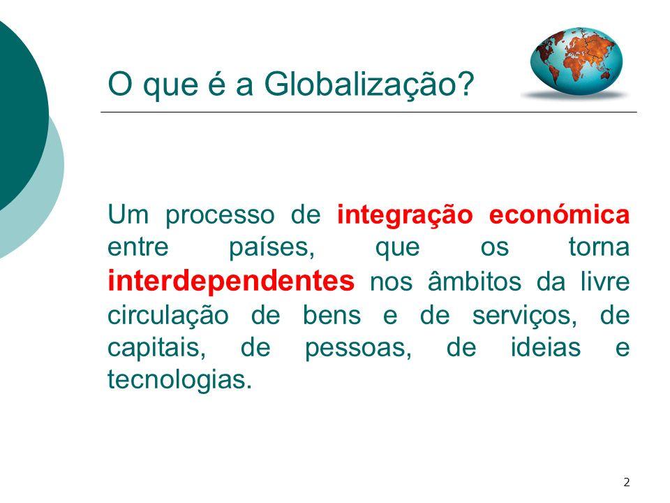 2 O que é a Globalização? Um processo de integração económica entre países, que os torna interdependentes nos âmbitos da livre circulação de bens e de
