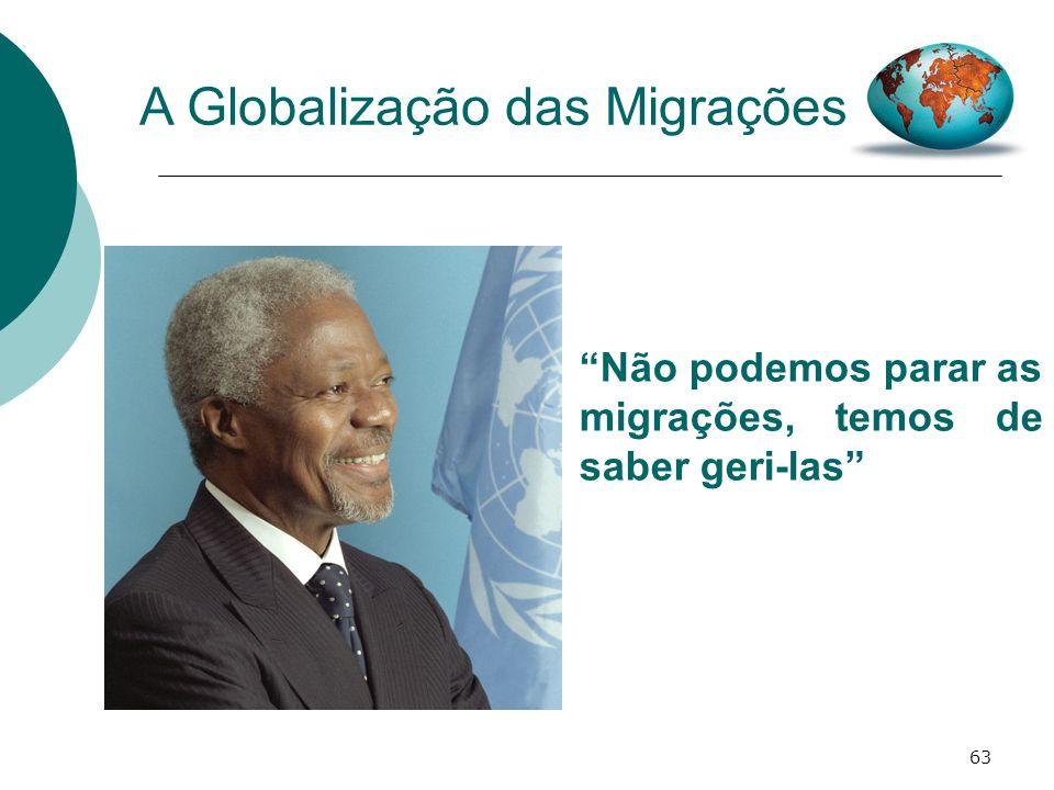 63 A Globalização das Migrações Não podemos parar as migrações, temos de saber geri-las