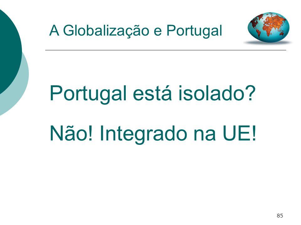 85 A Globalização e Portugal Portugal está isolado? Não! Integrado na UE!