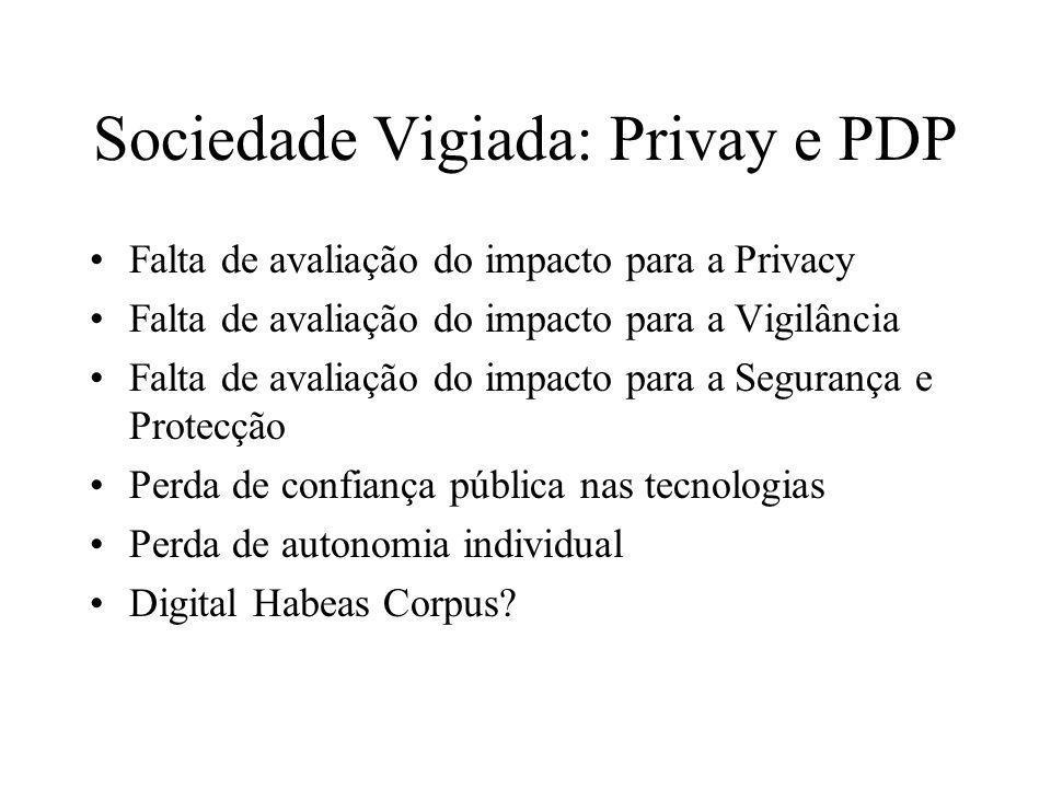 Sociedade Vigiada: Privay e PDP Falta de avaliação do impacto para a Privacy Falta de avaliação do impacto para a Vigilância Falta de avaliação do imp