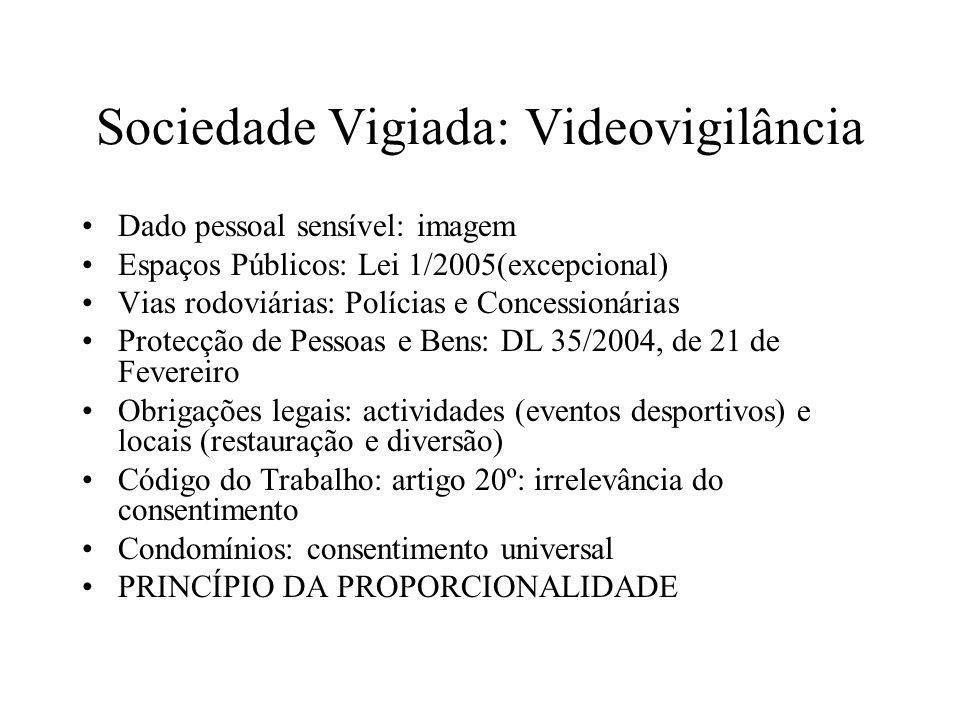 Sociedade Vigiada: Videovigilância Dado pessoal sensível: imagem Espaços Públicos: Lei 1/2005(excepcional) Vias rodoviárias: Polícias e Concessionária