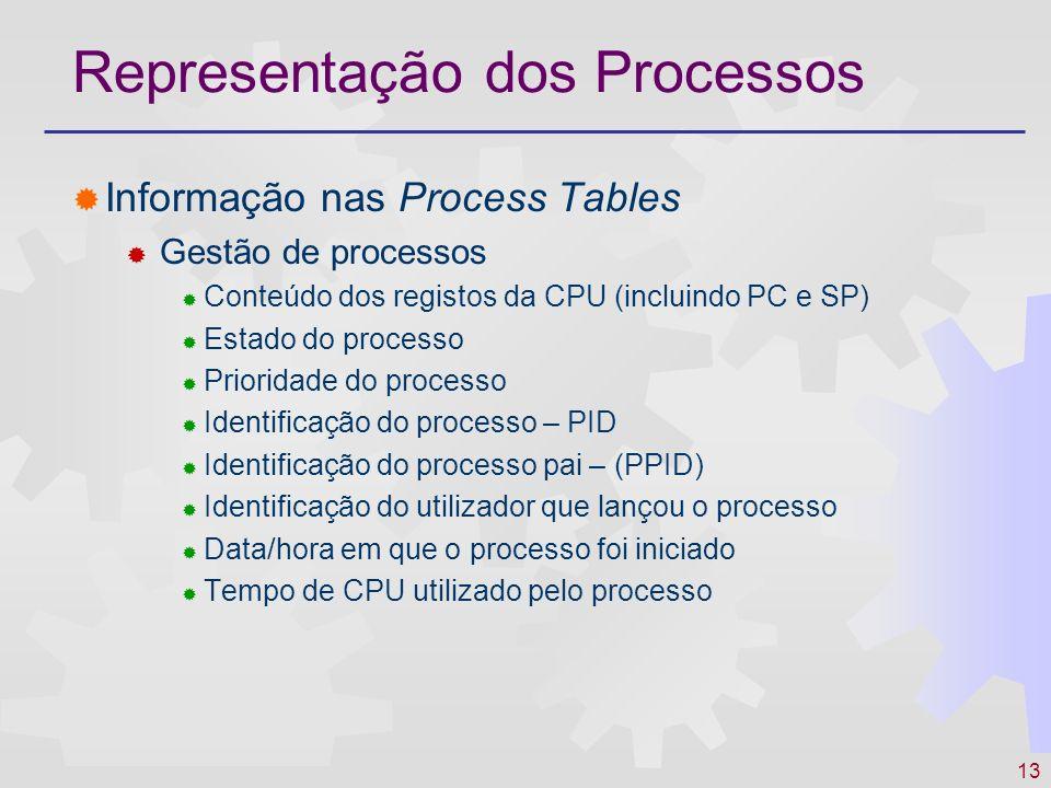 13 Representação dos Processos Informação nas Process Tables Gestão de processos Conteúdo dos registos da CPU (incluindo PC e SP) Estado do processo P