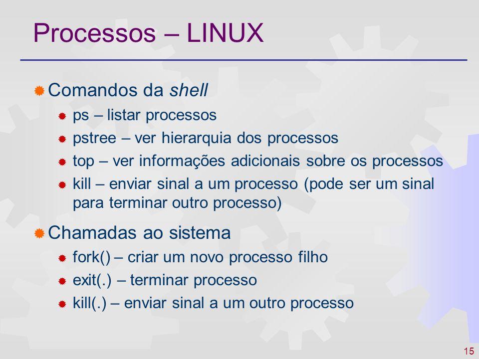 15 Processos – LINUX Comandos da shell ps – listar processos pstree – ver hierarquia dos processos top – ver informações adicionais sobre os processos