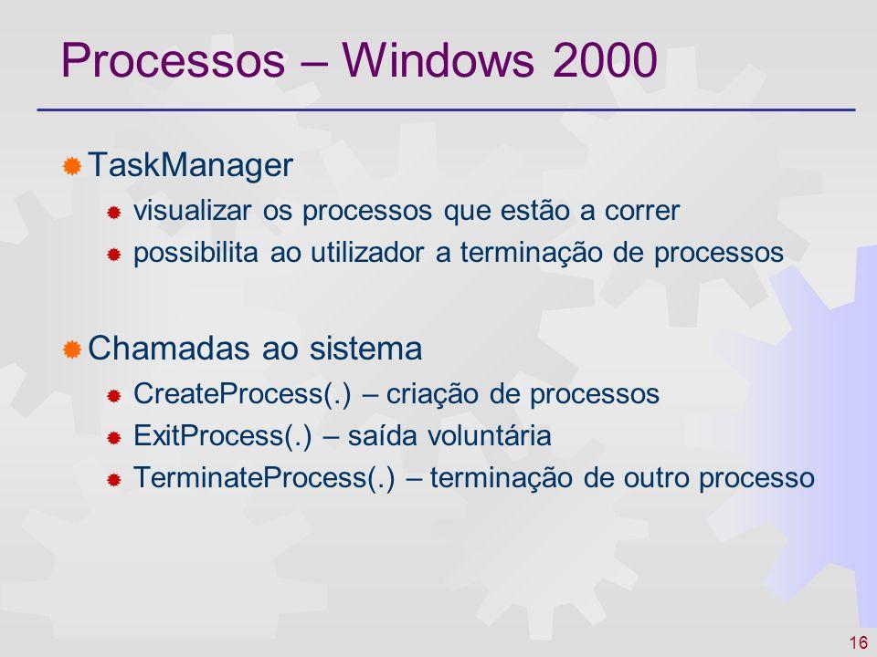 16 Processos – Windows 2000 TaskManager visualizar os processos que estão a correr possibilita ao utilizador a terminação de processos Chamadas ao sis
