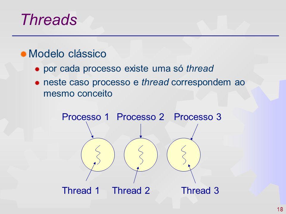 18 Threads Modelo clássico por cada processo existe uma só thread neste caso processo e thread correspondem ao mesmo conceito Processo 1Processo 2Proc