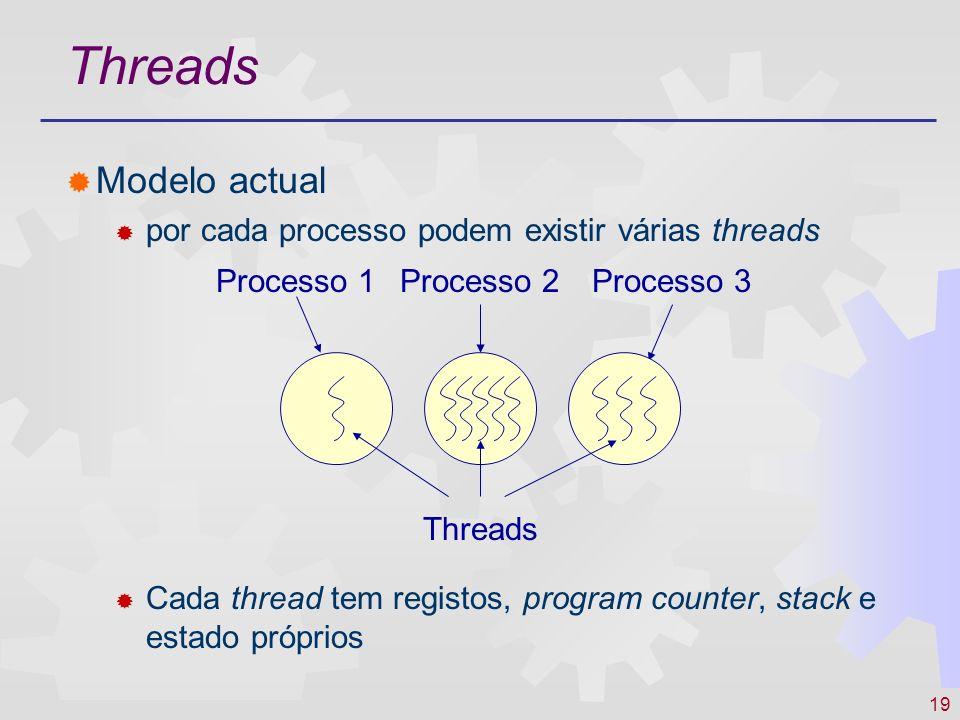 19 Threads Modelo actual por cada processo podem existir várias threads Cada thread tem registos, program counter, stack e estado próprios Processo 1P