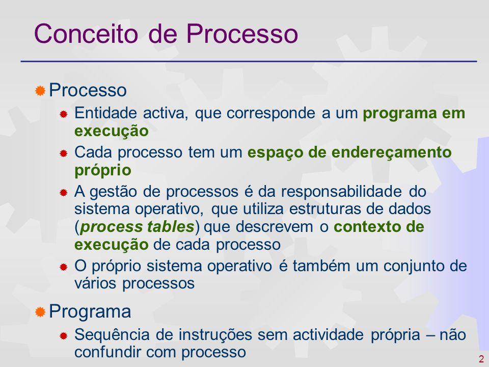2 Conceito de Processo Processo Entidade activa, que corresponde a um programa em execução Cada processo tem um espaço de endereçamento próprio A gest