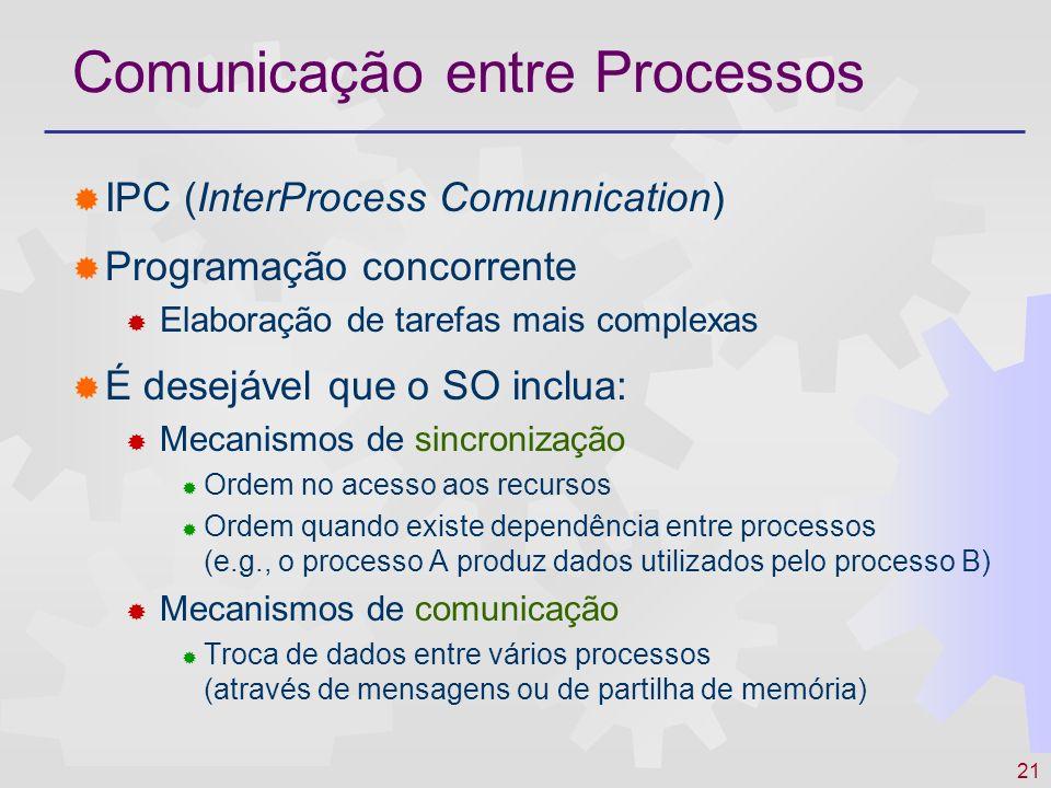 21 Comunicação entre Processos IPC (InterProcess Comunnication) Programação concorrente Elaboração de tarefas mais complexas É desejável que o SO incl