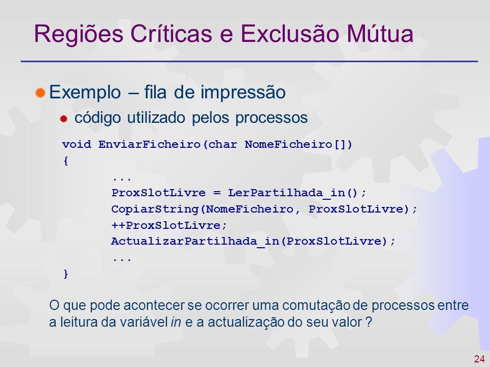 24 Regiões Críticas e Exclusão Mútua Exemplo – fila de impressão código utilizado pelos processos O que pode acontecer se ocorrer uma comutação de pro