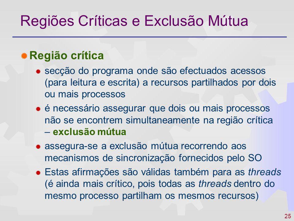 25 Regiões Críticas e Exclusão Mútua Região crítica secção do programa onde são efectuados acessos (para leitura e escrita) a recursos partilhados por