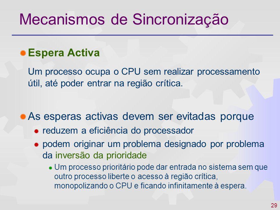 29 Mecanismos de Sincronização Espera Activa Um processo ocupa o CPU sem realizar processamento útil, até poder entrar na região crítica. As esperas a