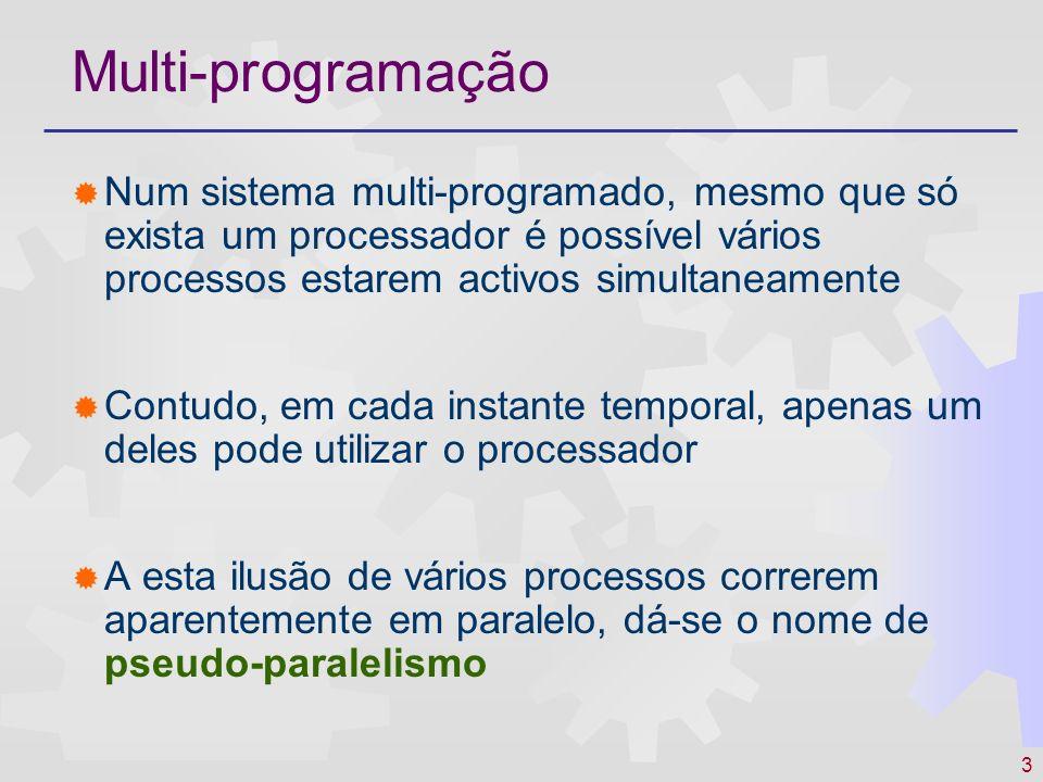 3 Multi-programação Num sistema multi-programado, mesmo que só exista um processador é possível vários processos estarem activos simultaneamente Contu
