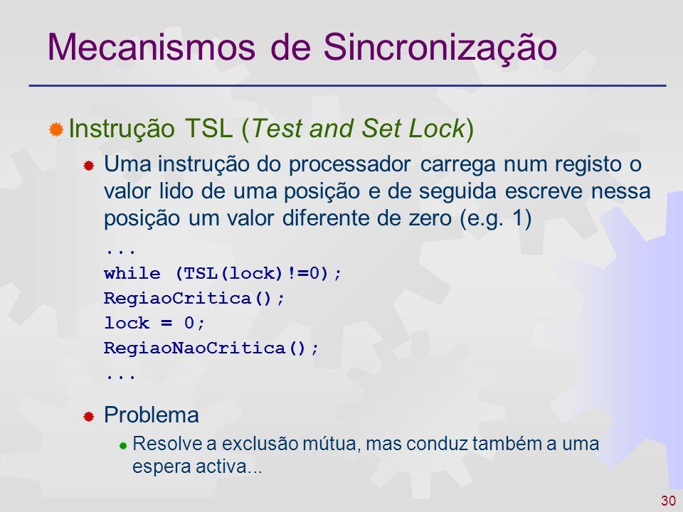 30 Mecanismos de Sincronização Instrução TSL (Test and Set Lock) Uma instrução do processador carrega num registo o valor lido de uma posição e de seg