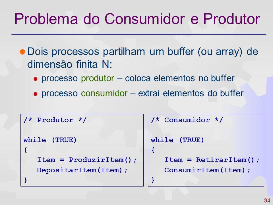 34 Problema do Consumidor e Produtor Dois processos partilham um buffer (ou array) de dimensão finita N: processo produtor – coloca elementos no buffe