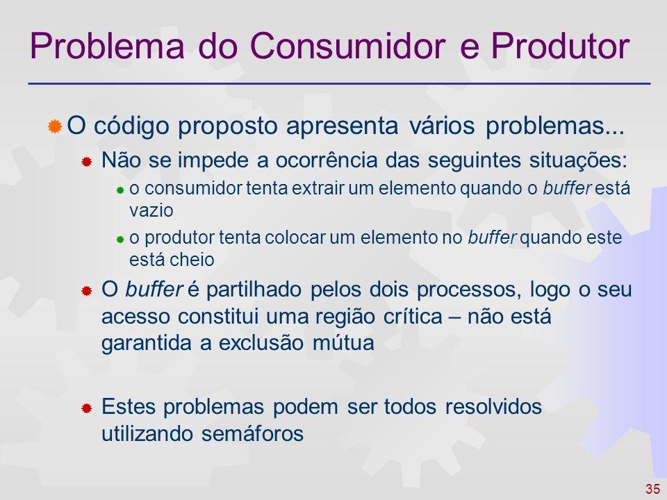 35 Problema do Consumidor e Produtor O código proposto apresenta vários problemas... Não se impede a ocorrência das seguintes situações: o consumidor