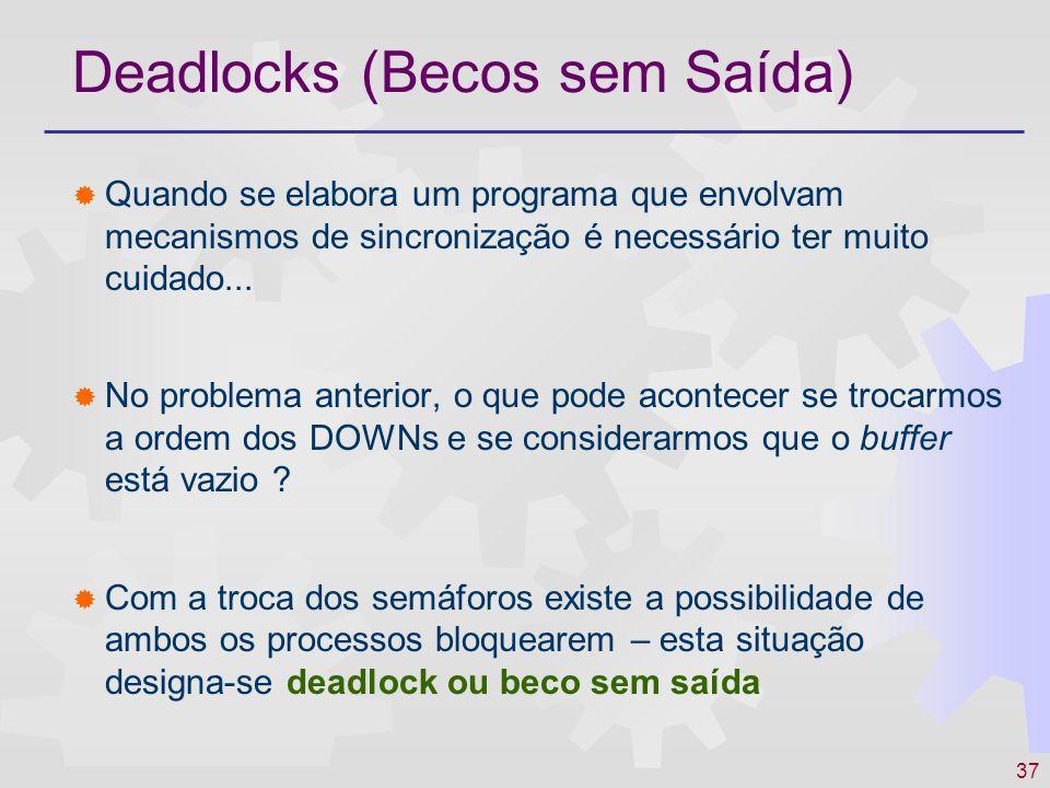 37 Deadlocks (Becos sem Saída) Quando se elabora um programa que envolvam mecanismos de sincronização é necessário ter muito cuidado... No problema an