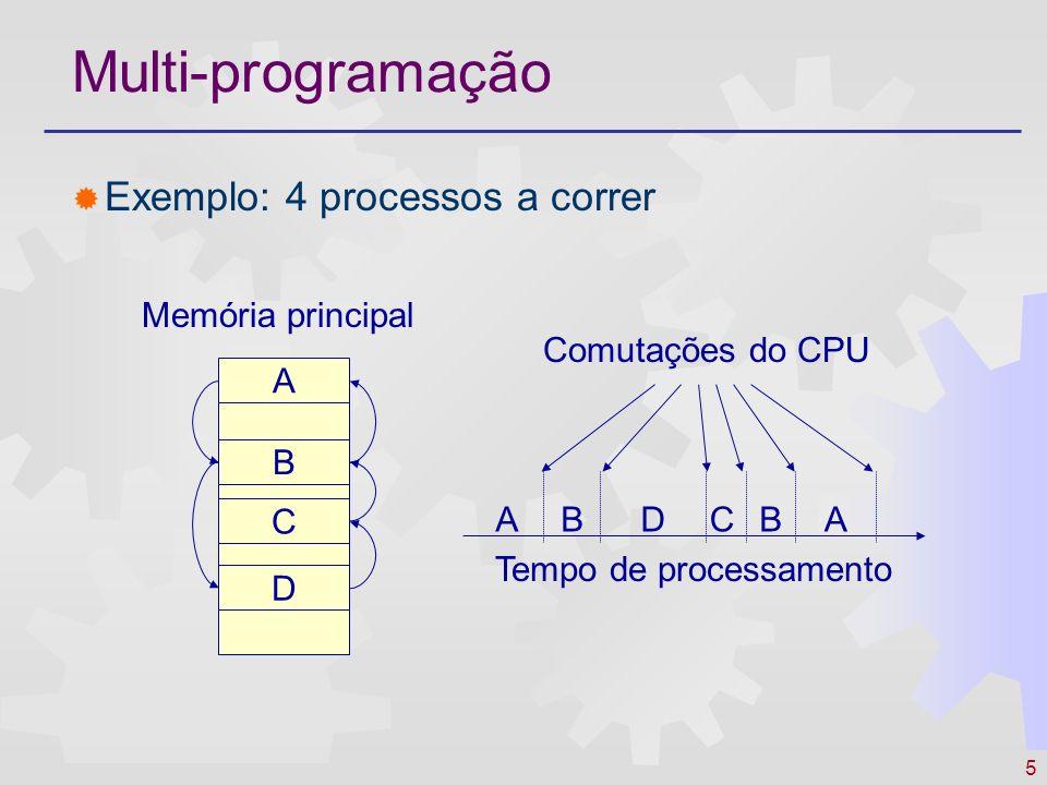 5 Multi-programação Exemplo: 4 processos a correr A B C D ABDCBA Tempo de processamento Memória principal Comutações do CPU