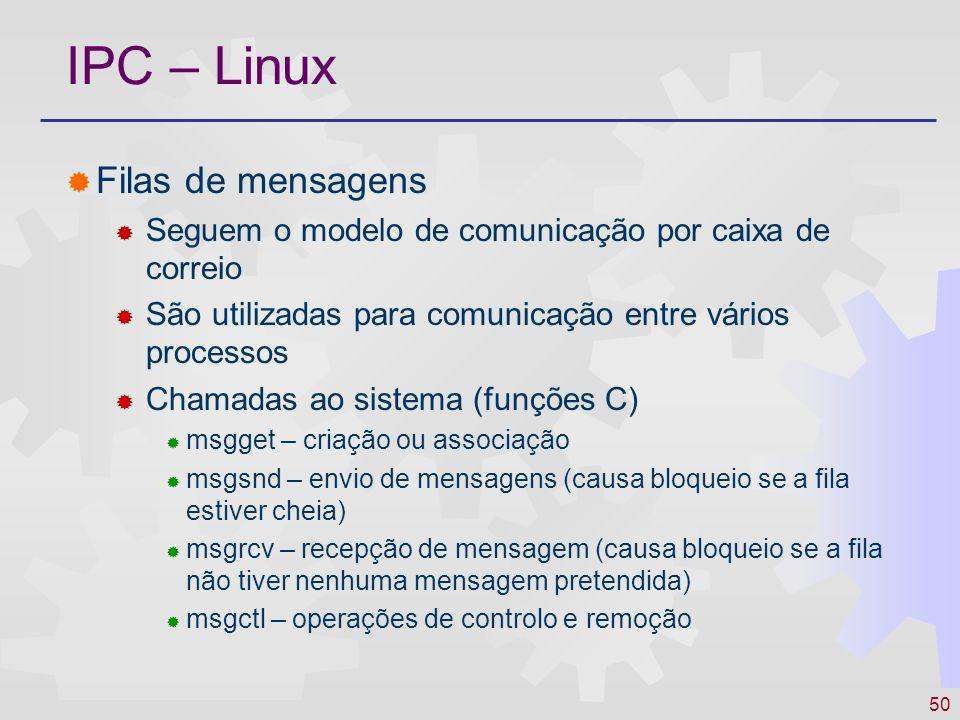 50 IPC – Linux Filas de mensagens Seguem o modelo de comunicação por caixa de correio São utilizadas para comunicação entre vários processos Chamadas