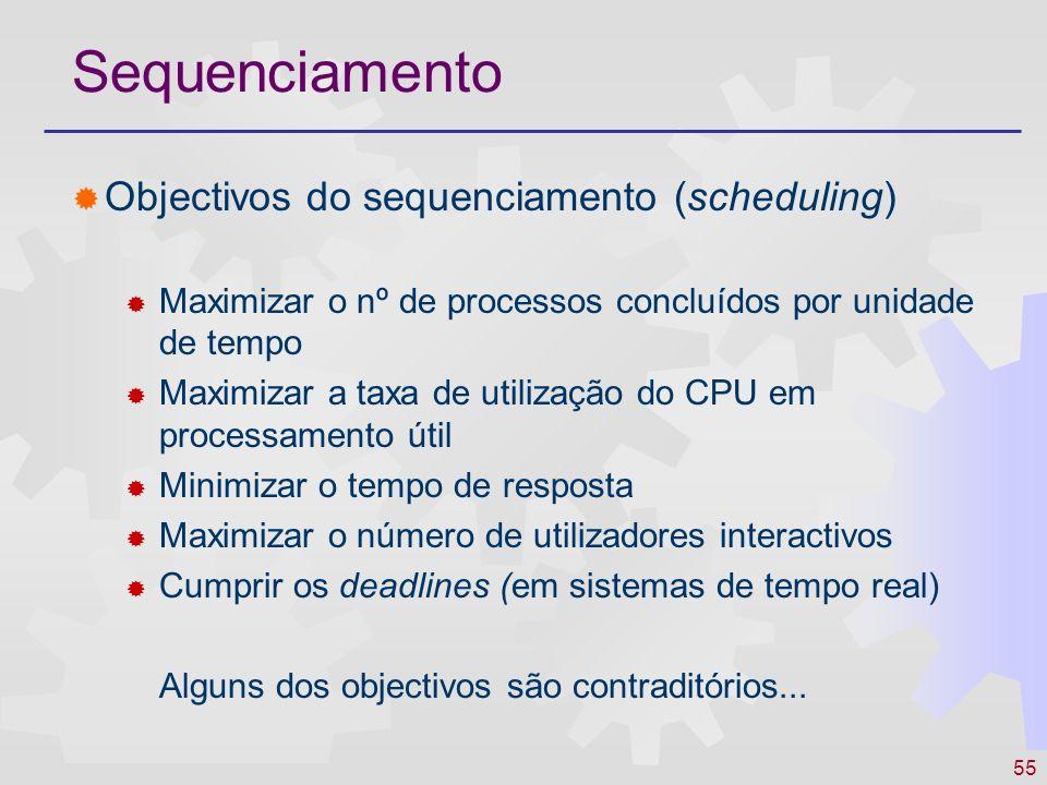 55 Sequenciamento Objectivos do sequenciamento (scheduling) Maximizar o nº de processos concluídos por unidade de tempo Maximizar a taxa de utilização