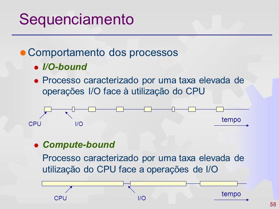 56 Sequenciamento Comportamento dos processos I/O-bound Processo caracterizado por uma taxa elevada de operações I/O face à utilização do CPU Compute-