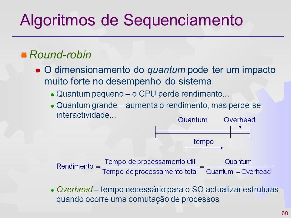 60 Round-robin O dimensionamento do quantum pode ter um impacto muito forte no desempenho do sistema Quantum pequeno – o CPU perde rendimento... Quant