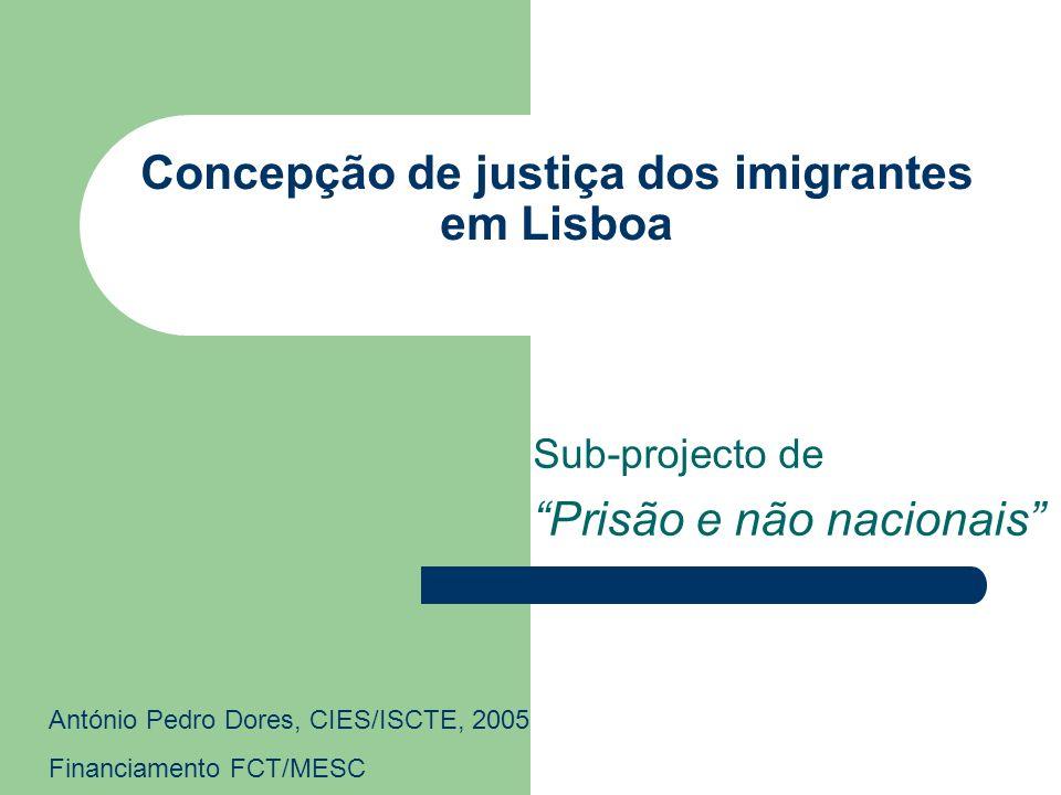 Concepção de justiça dos imigrantes em Lisboa Sub-projecto de Prisão e não nacionais António Pedro Dores, CIES/ISCTE, 2005 Financiamento FCT/MESC