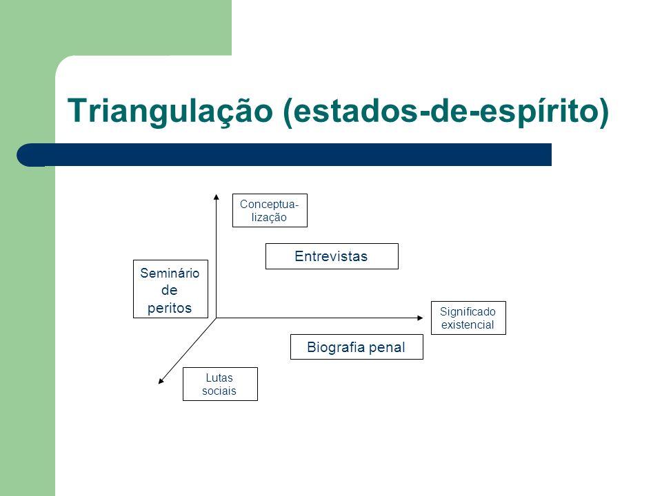 Triangulação (estados-de-espírito) Significado existencial Conceptua- lização Lutas sociais Biografia penal Entrevistas Seminário de peritos