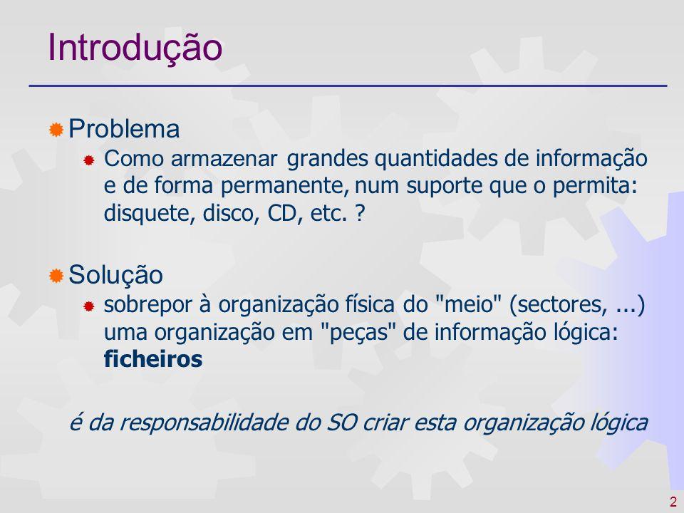 3 Introdução Sistema de Ficheiros ( File System) A forma como o SO organiza o suporte físico em ficheiros formatação do disco, localização dos ficheiros no disco,...