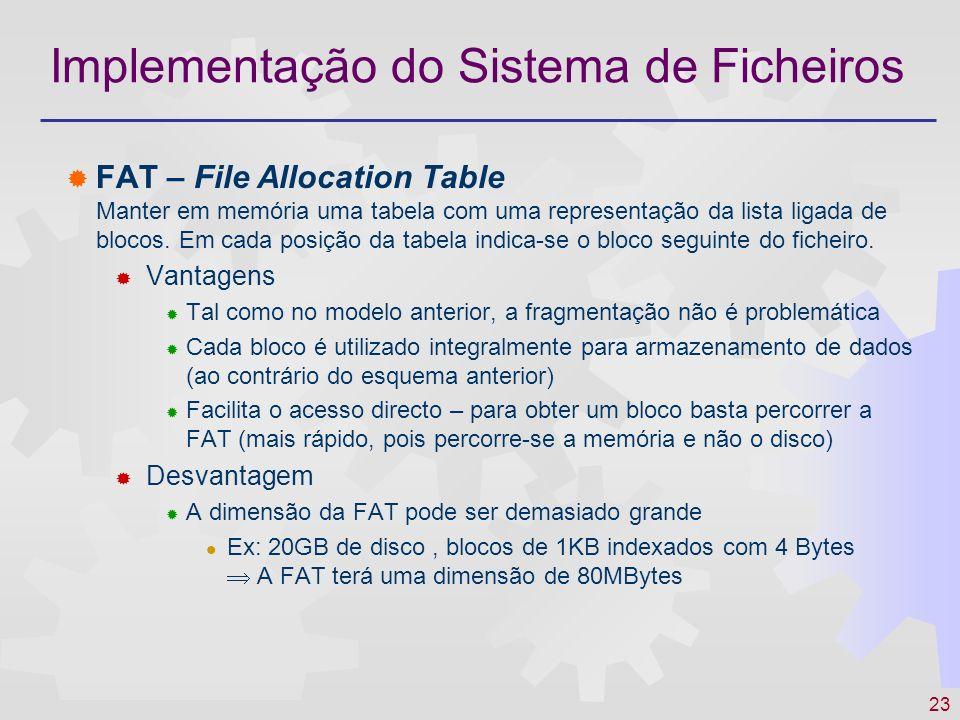 24 Implementação do Sistema de Ficheiros Exemplo: abccaabb 12131011 1617141520...1819...
