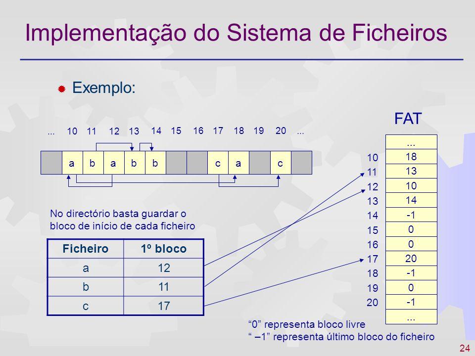 25 Implementação do Sistema de Ficheiros I-Nodes associar a cada ficheiro uma estrutura de dados contendo a localização em disco e os atributos do ficheiro O i-node contém um número limitado de blocos do ficheiro Para ficheiros de maior dimensão são atribuídos ao i-node outros blocos que contém tabelas com nºs de bloco extra O i-node contém todas as características do ficheiro, excepto o nome que figura no (ou nos) directórios onde o i-node é incluído Vantagens A fragmentação não é problemática Para aceder a um ficheiro basta ter o respectivo i-node em memória (não é necessário dispor de toda uma tabela de alocação) Facilita a partilha de ficheiros através de hard links