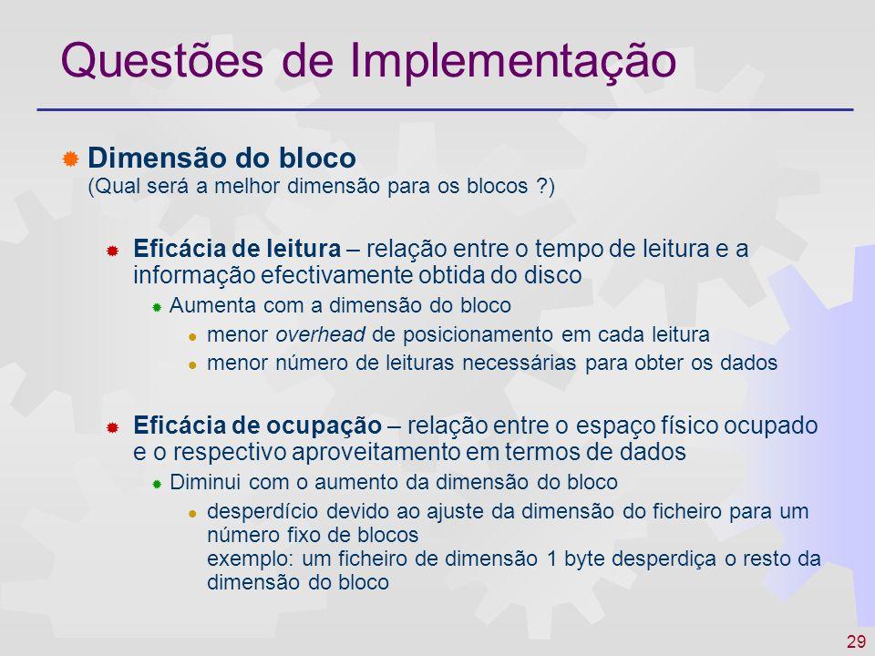 30 Questões de Implementação Variação da eficácia com a dimensão do bloco Dimensão do bloco Eficácia de leitura Eficácia de armazenamento