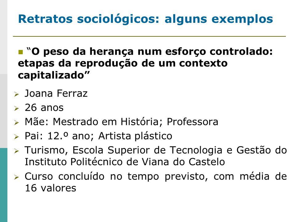 Retratos sociológicos: alguns exemplos Joana Ferraz 26 anos Mãe: Mestrado em História; Professora Pai: 12.º ano; Artista plástico Turismo, Escola Supe