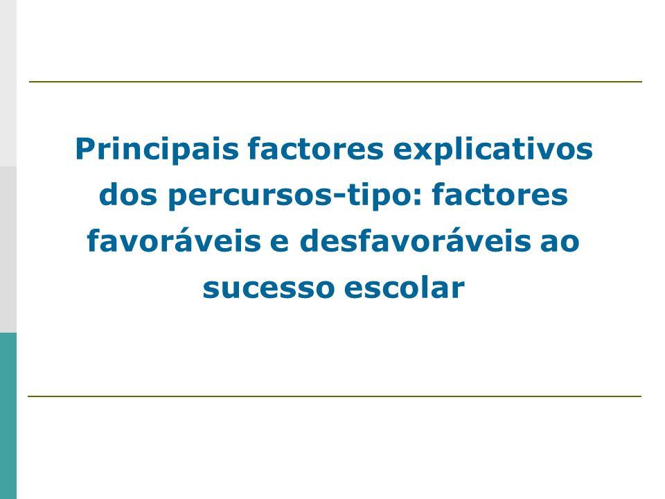 Principais factores explicativos dos percursos-tipo: factores favoráveis e desfavoráveis ao sucesso escolar