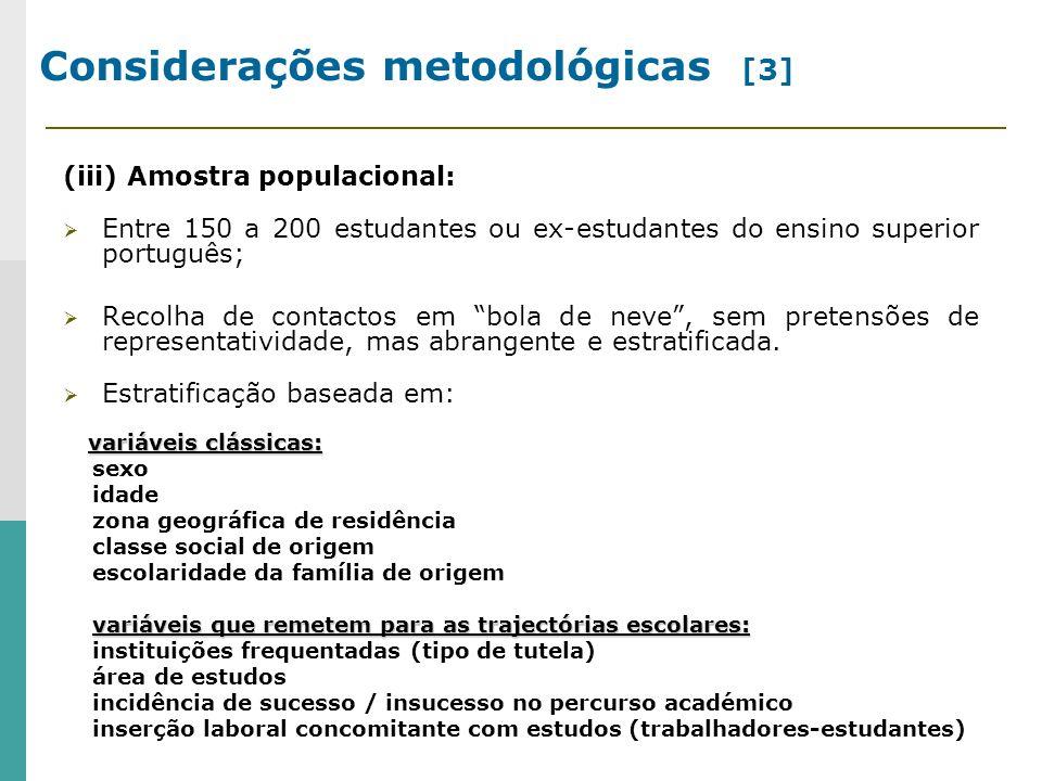 Considerações metodológicas [3] (iii) Amostra populacional: Entre 150 a 200 estudantes ou ex-estudantes do ensino superior português; Recolha de contactos em bola de neve, sem pretensões de representatividade, mas abrangente e estratificada.