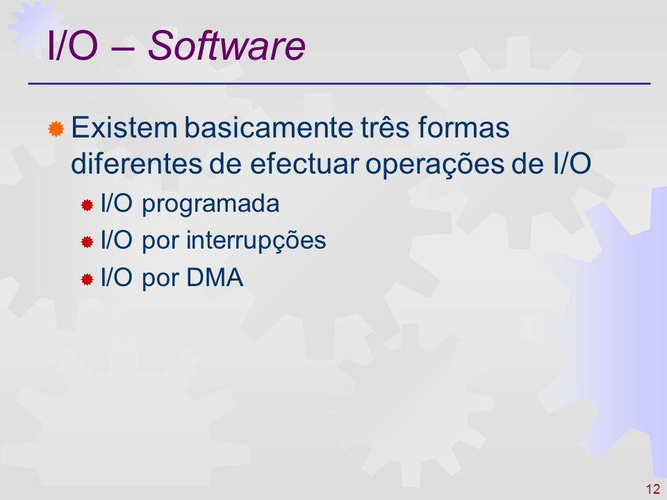 12 I/O – Software Existem basicamente três formas diferentes de efectuar operações de I/O I/O programada I/O por interrupções I/O por DMA