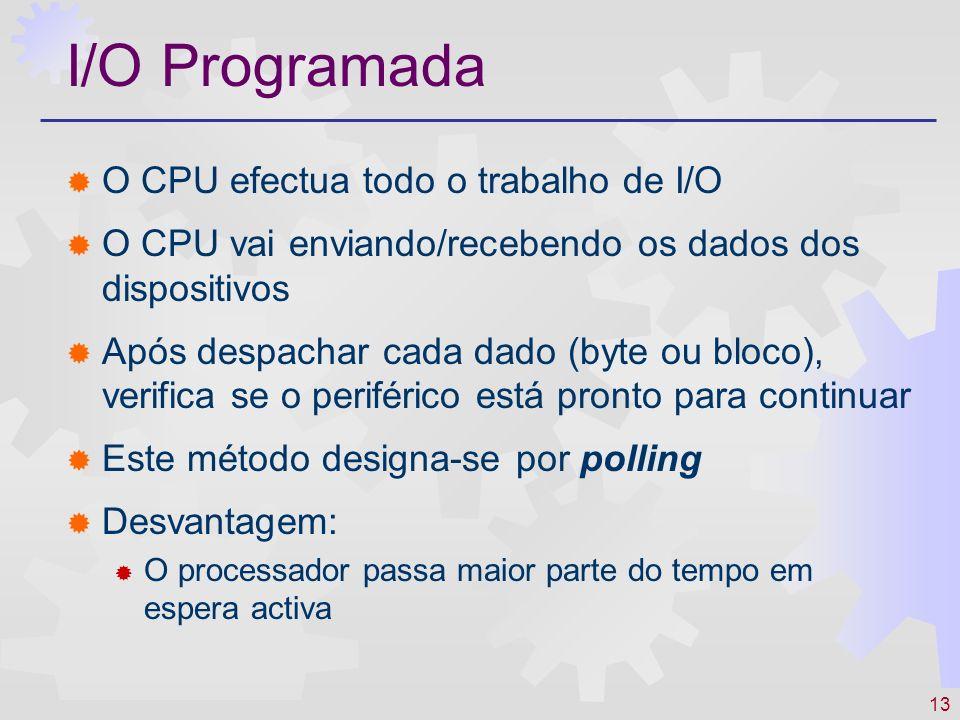 13 I/O Programada O CPU efectua todo o trabalho de I/O O CPU vai enviando/recebendo os dados dos dispositivos Após despachar cada dado (byte ou bloco)