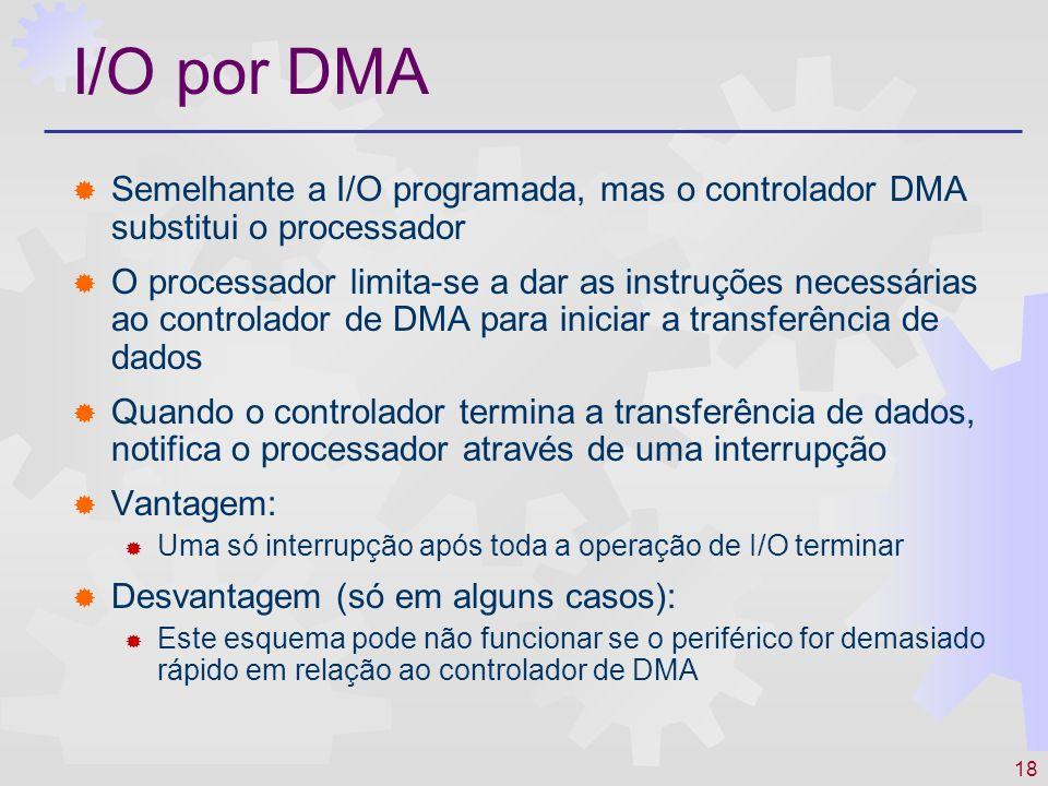 18 I/O por DMA Semelhante a I/O programada, mas o controlador DMA substitui o processador O processador limita-se a dar as instruções necessárias ao controlador de DMA para iniciar a transferência de dados Quando o controlador termina a transferência de dados, notifica o processador através de uma interrupção Vantagem: Uma só interrupção após toda a operação de I/O terminar Desvantagem (só em alguns casos): Este esquema pode não funcionar se o periférico for demasiado rápido em relação ao controlador de DMA