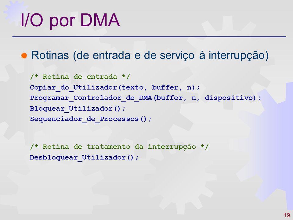 19 I/O por DMA Rotinas (de entrada e de serviço à interrupção) /* Rotina de tratamento da interrupção */ Desbloquear_Utilizador(); /* Rotina de entrada */ Copiar_do_Utilizador(texto, buffer, n); Programar_Controlador_de_DMA(buffer, n, dispositivo); Bloquear_Utilizador(); Sequenciador_de_Processos();