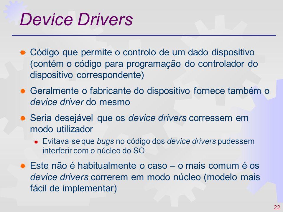 22 Device Drivers Código que permite o controlo de um dado dispositivo (contém o código para programação do controlador do dispositivo correspondente)