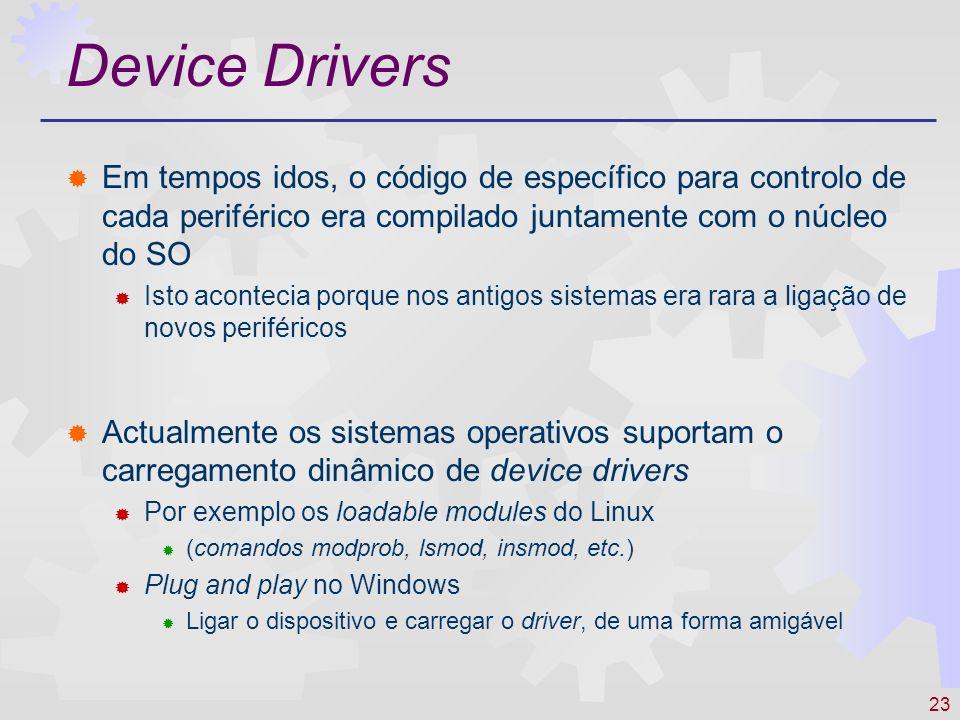 23 Device Drivers Em tempos idos, o código de específico para controlo de cada periférico era compilado juntamente com o núcleo do SO Isto acontecia p