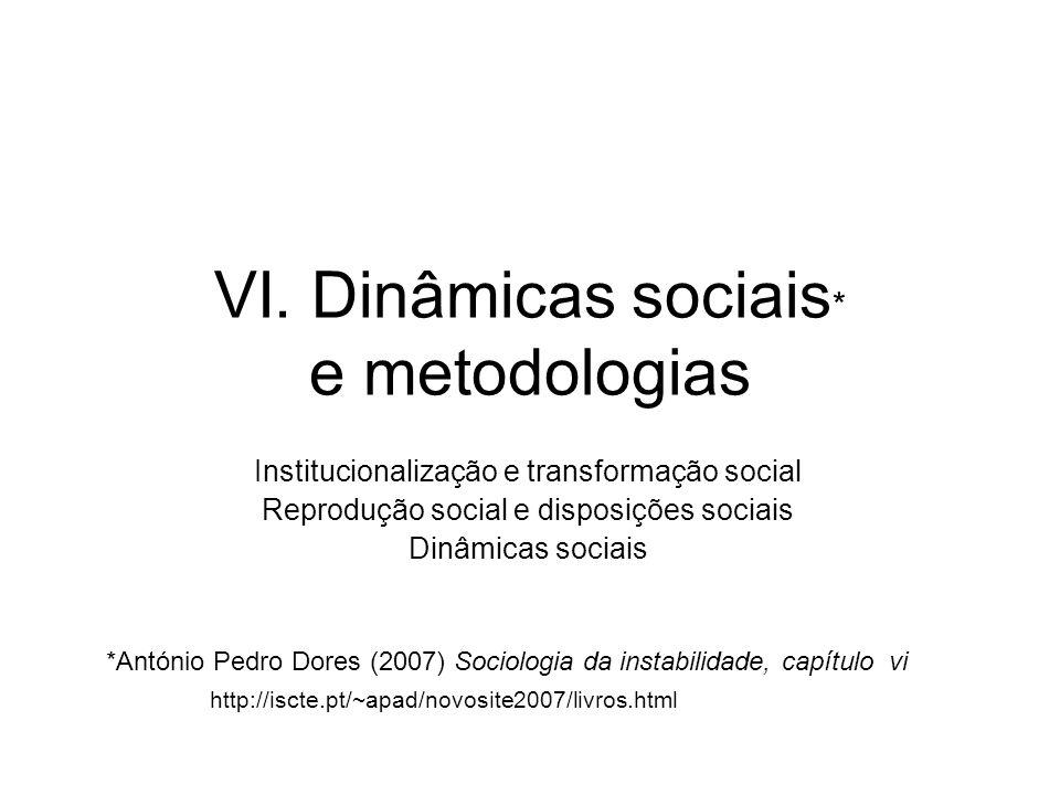 VI. Dinâmicas sociais * e metodologias Institucionalização e transformação social Reprodução social e disposições sociais Dinâmicas sociais *António P