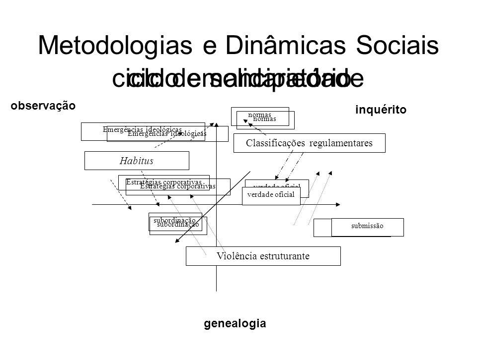 Metodologias e Dinâmicas Sociais Violência estruturante Habitus Classificações regulamentares Emergências ideológicas Estratégias corporativas normas