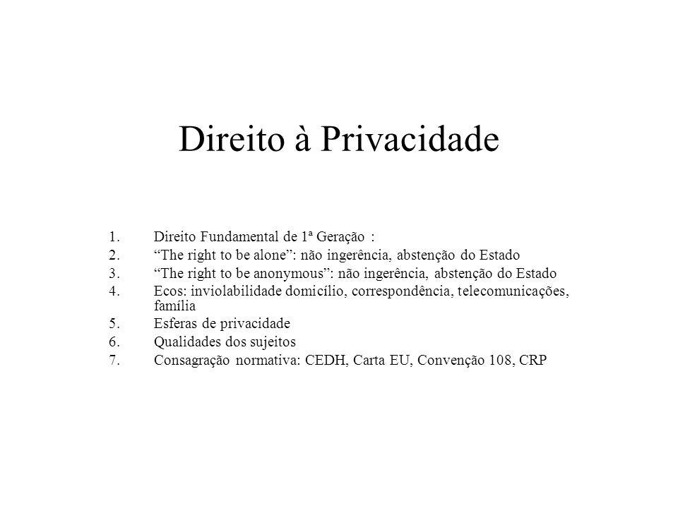 Direito à Privacidade 1.Direito Fundamental de 1ª Geração : 2.The right to be alone: não ingerência, abstenção do Estado 3.The right to be anonymous: