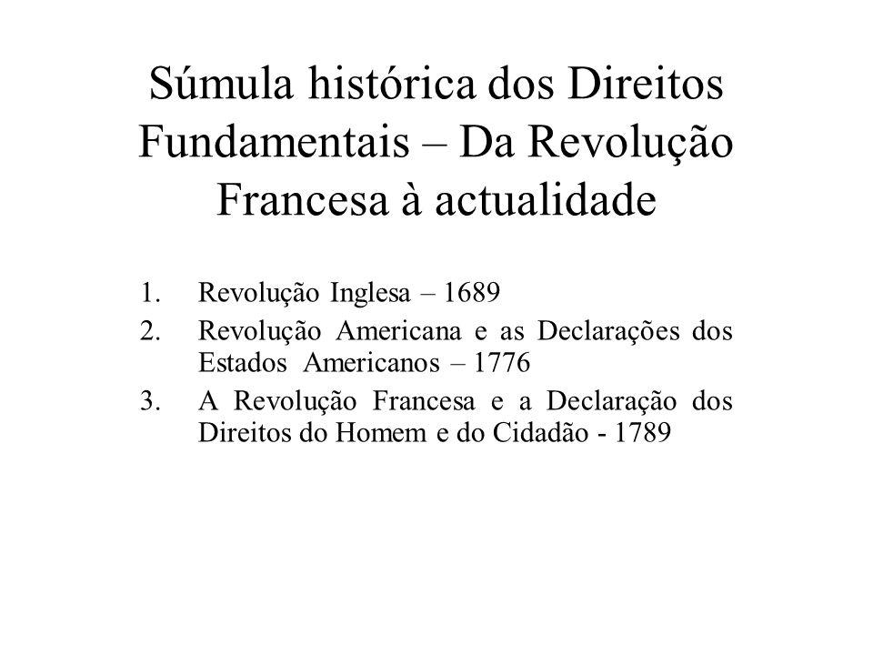 Súmula histórica dos Direitos Fundamentais – Da Revolução Francesa à actualidade 1.Revolução Inglesa – 1689 2.Revolução Americana e as Declarações dos