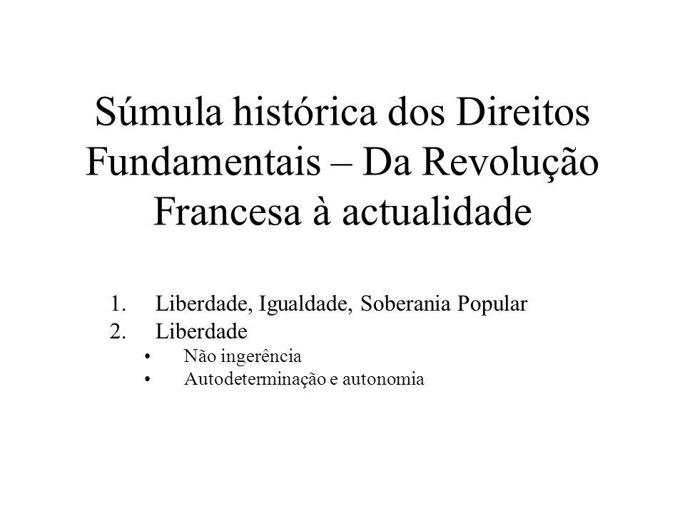 Súmula histórica dos Direitos Fundamentais – Da Revolução Francesa à actualidade 1.Liberdade, Igualdade, Soberania Popular 2.Liberdade Não ingerência
