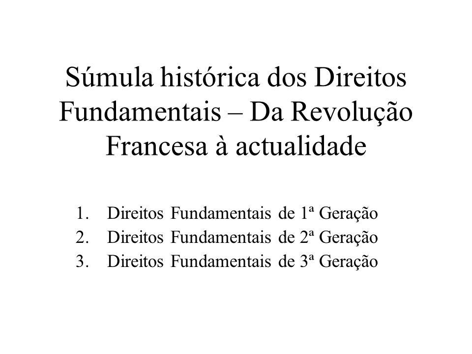 Súmula histórica dos Direitos Fundamentais – Da Revolução Francesa à actualidade 1.Direitos Fundamentais de 1ª Geração 2.Direitos Fundamentais de 2ª G